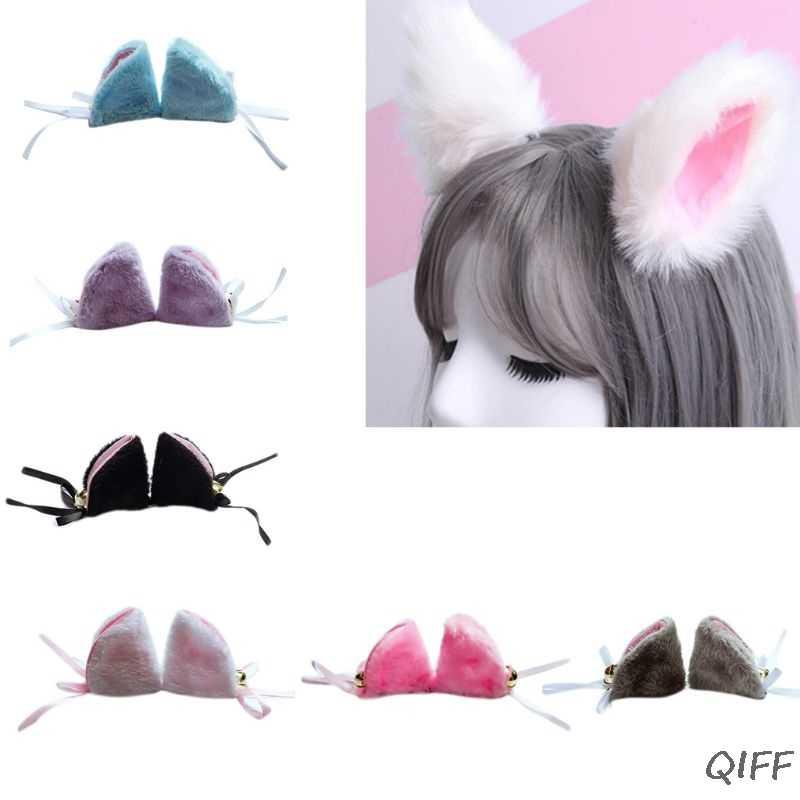 Anime japonês Bonito Fox Orelhas de Gato Hairpin Mulheres Meninas Festa de Halloween Cosplay Lolita Traje Jacaré Grampo de Cabelo Acessórios de Cabelo