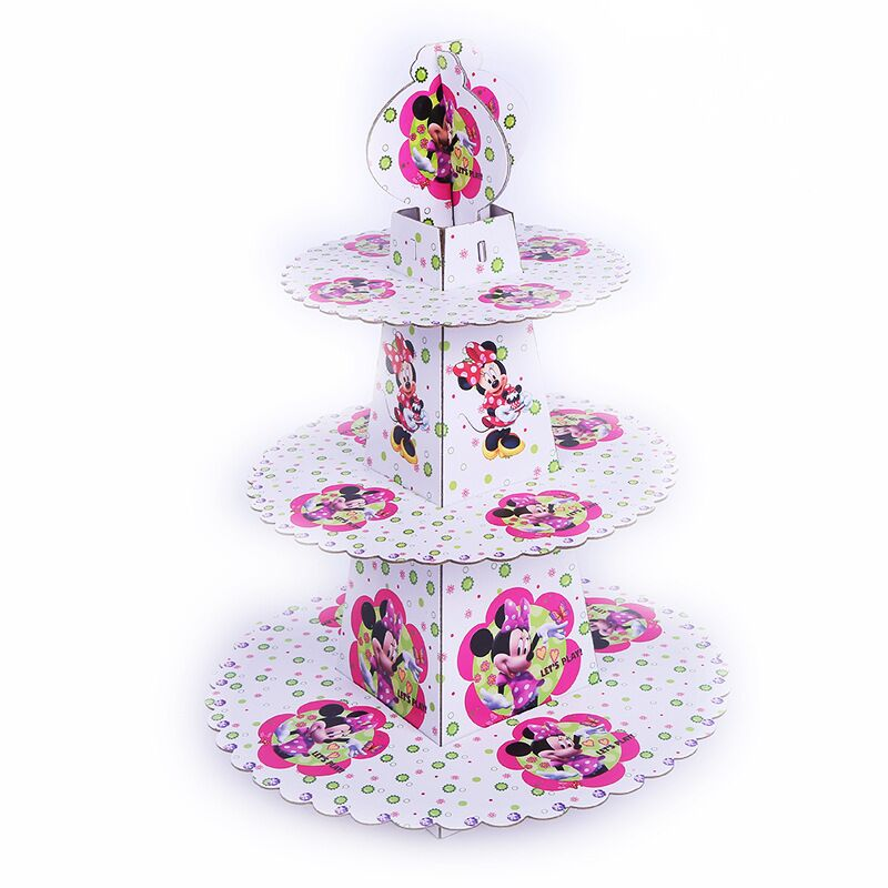 1pcs/set Minnie Mouse Baby Shower Cartoon Girls Birthday Party Decorations Supplies 3 Tier Cardboard Cupcake Stand 24 Cupcakes