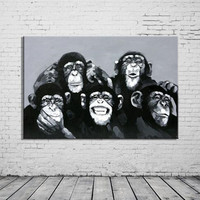 Hand Painted Abstract Animal Oil Painting On Canvas Black Acrylic Funny Orangutan Paintings Modern Home Decor