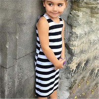 Hot Sale Summer Girls Sleeveless Straight Dress Cotton Material Girls Dress With Black And White Striped