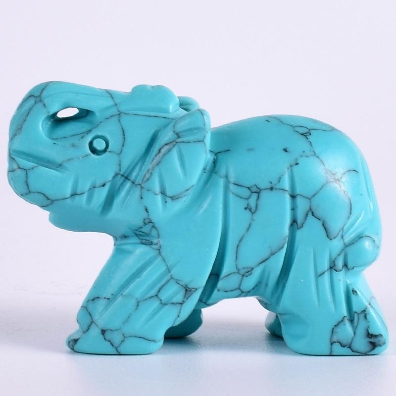Tiny Elephant Figurine Craft Carved Turquoise Stone Elephant Mini 2 Inch Animals Statue for Home Decor Chakra Healing Feng Shui figurine
