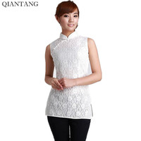 New Arrival White Female Shirt Tops Chinese Classic Style Ladies Summer Lace Blouse Size S M
