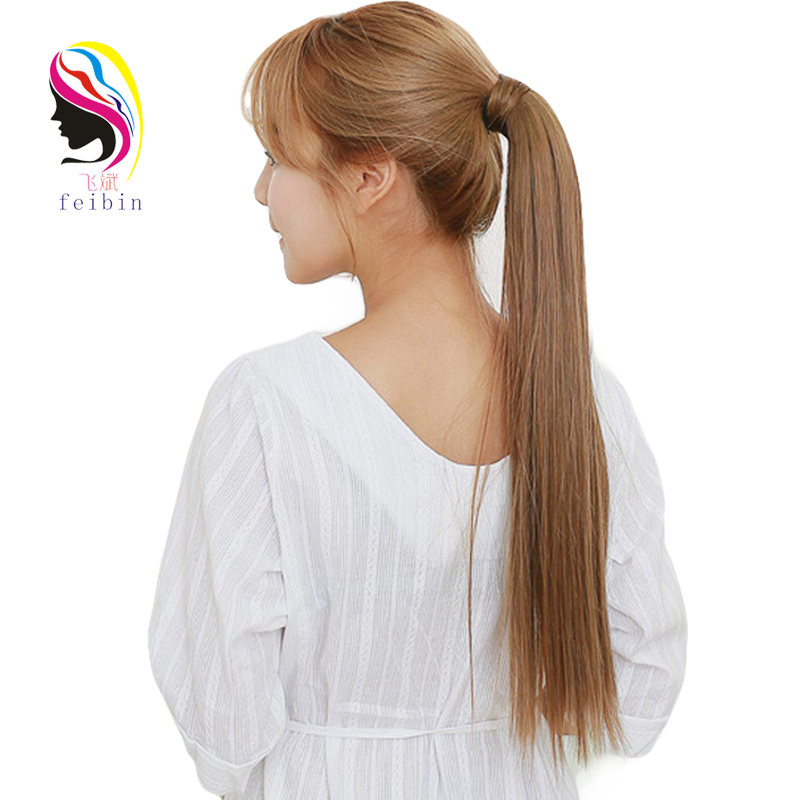 Feibin 33 Colors Ponytail Hair Extension Clip In Tail With Hairpiece Long Straight Synthetic Women's Hair Extensions 24 Inch