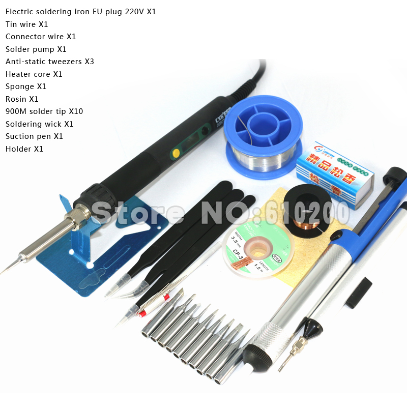 Upgrade Professional LCD Digital ESD Adjustable Electric soldering iron tools kit set Soldering station EU plug+900M Solder tip