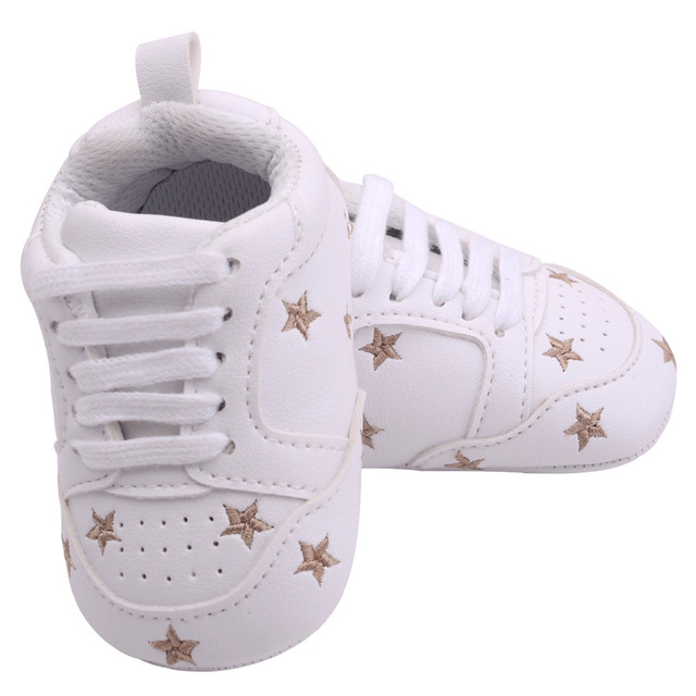 2019 Baby Shoes Newborn Boys Girls Heart Star Pattern First Walkers Kids Toddlers Lace Up PU Sneakers 0-18 Months