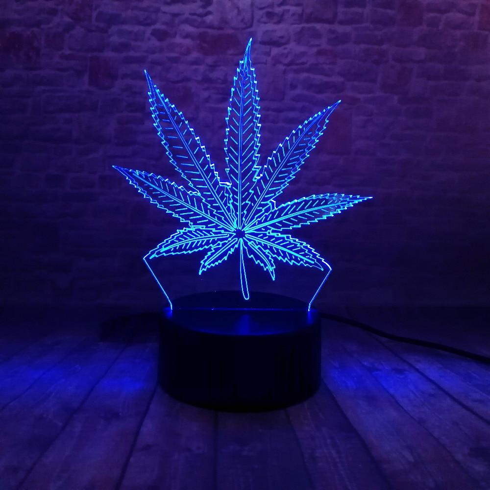 Piękna lampa LED Illusion 3D z lampką nocną w kształcie liścia - Lampki nocne - Zdjęcie 4