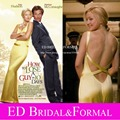 Kate Hudson  Celebrity Dresses in How to Lose a Guy in 10 Days Yellow Satin Evening Long Fitted Open Back Prom Dresses