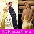 Kate Hudson Celebrity Dresses la en How to perder a Guy 10 días de noche de raso amarillo largo equipada espalda abierta Prom vestidos