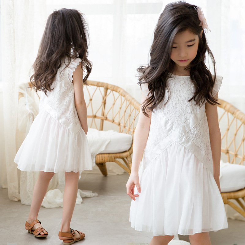 89dcb6ba8e92bbb Платье для девочек, 2019 летнее кружевное платье без рукавов с летящими  рукавами для девочек,