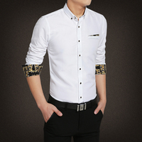 Spring And Autumn Pure White Shirt Long Sleeved Korean Style Business Code Shirt Young Men S