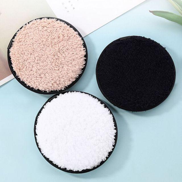 3 cores Facial Limpeza Cosméticos Puff Macio Pelúcia Espessa Maquiagem Cuidados Com A Pele Remover Rosto Limpeza Pad Lavável Reutilizável Acessório