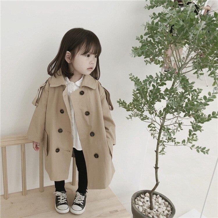 2018 Spring Autumn Girl Jackets Fashion Khaki Windbreaker For Girls 3 4 5 6 7 8 Y Kids Outwear Turn Down Collar Baby   Trench   Coat