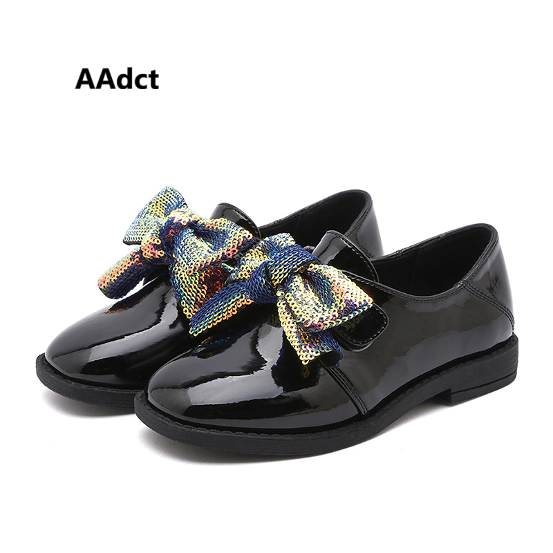 Aadct Girls Shoes Sequins Princess Little Patent Bow for New Children