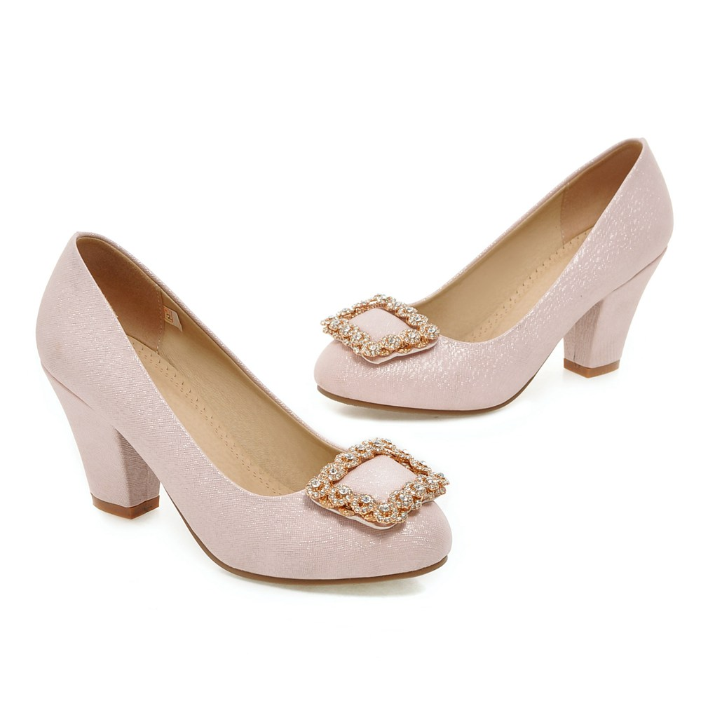 ФОТО New women shoes fashion Rhinestone Office & Career lady's pumps Shallow Mouth Round Toe Slip-On Spring/Autumn Consice shoes