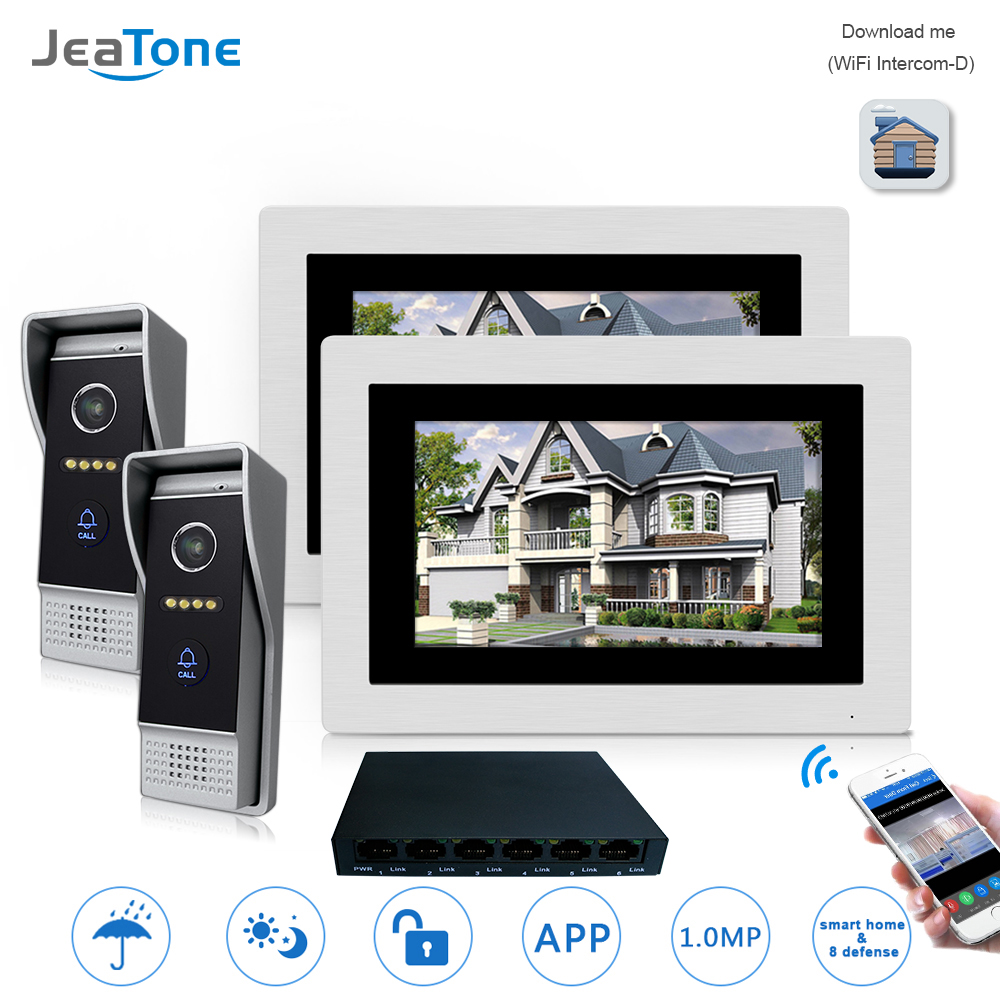7'' WIFI IP Video Door Phone Intercom Wireless Door Bell Speaker Access Control System Touch Screen Motion Detection 2 Apartment