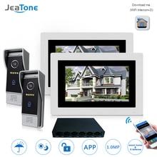 7 »WI-FI IP телефон видео домофон Беспроводной дверной звонок Динамик Система контроля доступа Сенсорный экран обнаружения движения 2 квартиры