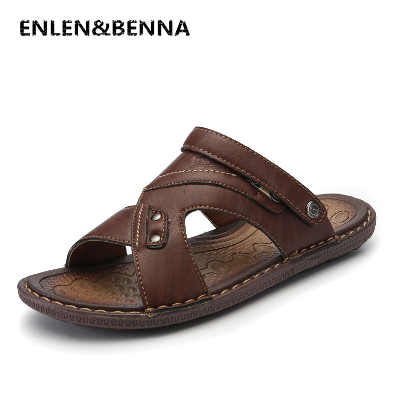 ENLEN&BENNA Classics Summer Shoes Men Slippers Quality Split leather Sandals For Men Comfortable Flip Flops Men Beach Sandals