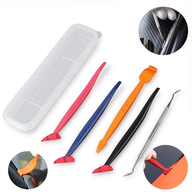 FOSHIO 5pcs คาร์บอนไฟเบอร์ไวนิลห่อฟิล์มรถเครื่องมือแม่เหล็กมุม Stick Squeegee Scraper ปะเก็น Micro หน้าต่างแม่เหล็กชุด