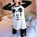2016 MULHERES de outono e inverno novas meninas Coreanas longo-algodão de mangas compridas pijamas treino feminino imagem Impressa mulheres sleepwear S2447
