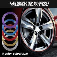 8M Auto Wheel Protector Hub Sticker Car Decorative Styling Chrome Coated strips Tires Sound tires Protection accessories