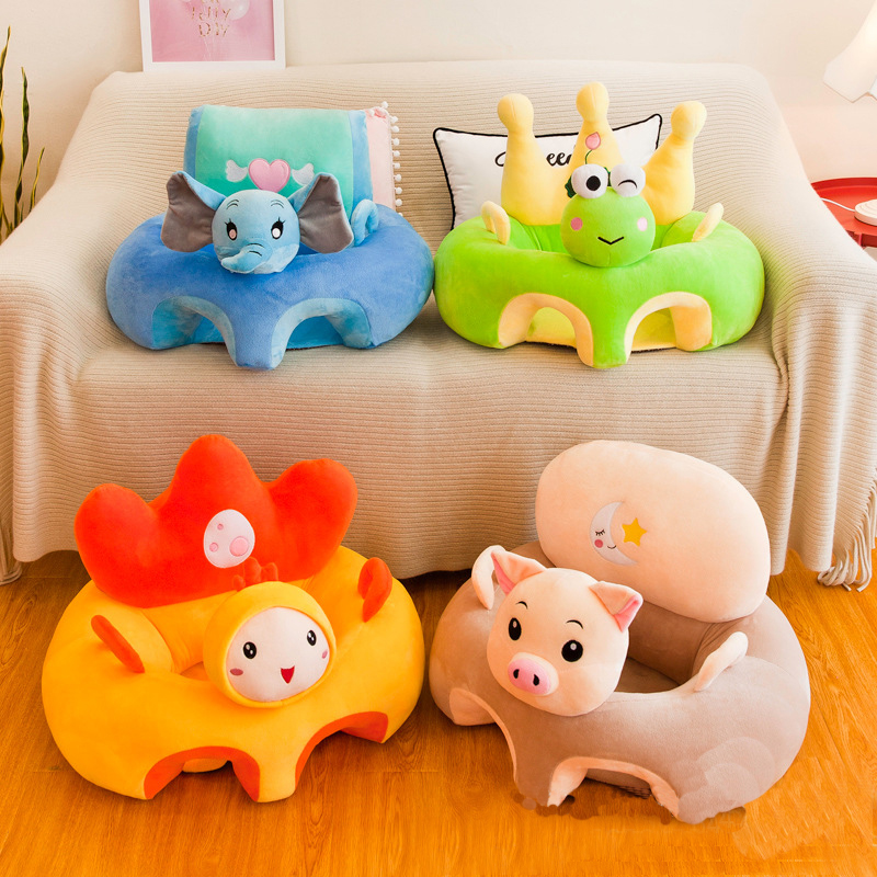 Cute Cartoon Sofa Skin For Infant Baby Seat Sofa Cover Sit Learning Chair Washable Only Cover With Zipper Without PP Cotton