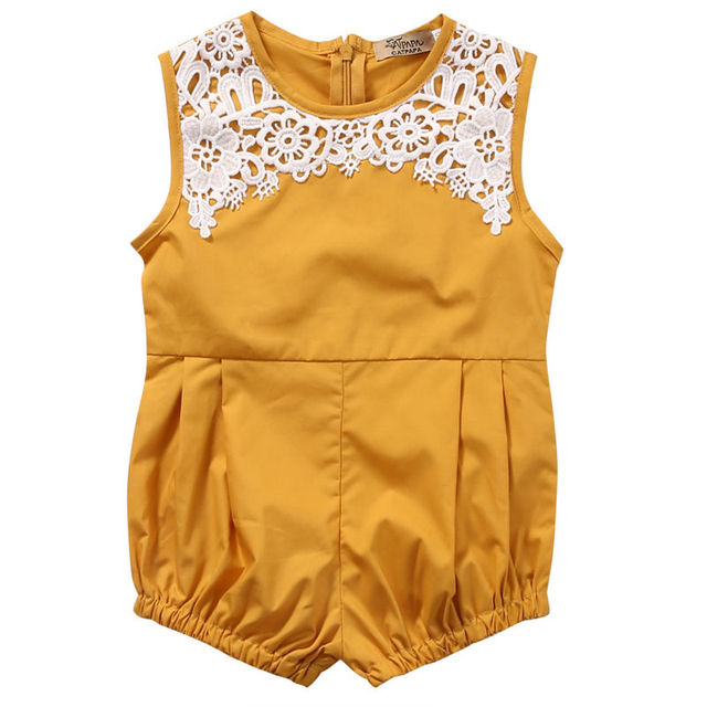 0624343907f Newborn Baby Girl Clothing Floral Lace Romper Sleeveless Cute Yellow Color  Jumpsuit Outfits Clothes Baby Girls