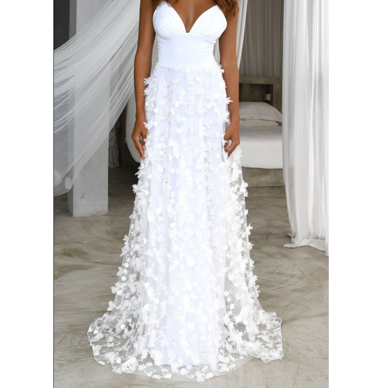 Spaghetti Strap Evening Party Dress Women Sexy Deep V-Neck Floral Lace White Dress Women Floor-Length Clothing Strapless Dress