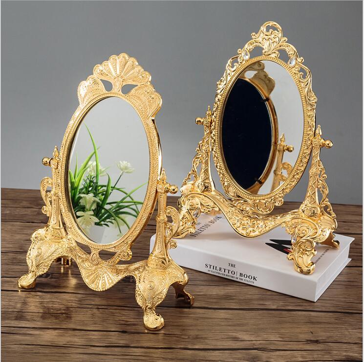 Ev ve Bahçe'ten Dekoratif Aynalar'de Avrupa 360 dönen gümüş/altın rengi masaüstü ayna makyaj masası aynası Düğün ev dekoratif aynalar büyük altın ayna J051'da  Grup 1