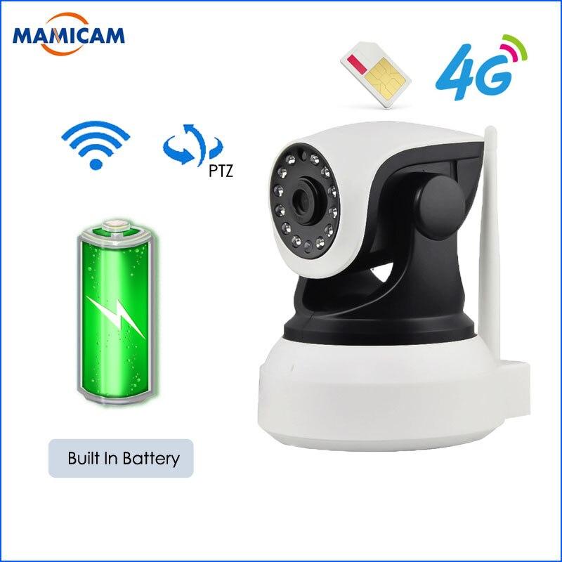 3G 4G Cartão SIM Câmera Sem Fio IP Cam PTZ Pan Tilt Câmera De Vídeo GSM P2P Rede Wi-fi Em Casa movimento de segurança Construído Em Bettery