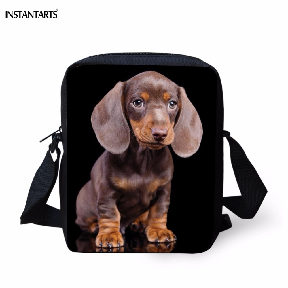INSTANTARTS Kawaii 3D Dachshund Dog/Puppy Print Children School Bags Kindergarten Mini Meseenger Bags Student Boys Girls Bookbag