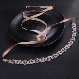 Image 5 - Jonnafe Rose Gold Color Women Prom Dress Waist Sash Rhinestone Bridal Headband Belt Wedding Accessories