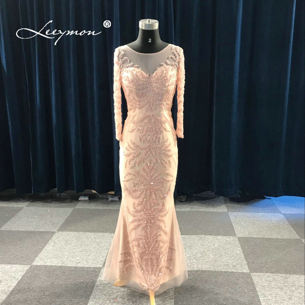 Leeymon Free Shipping 2019   Evening     Dress   Luxury Long Sleeves Handwork Beading   Evening   Gown Robe De Soiree Longue Real Pictures