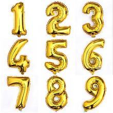 1Pcs 16inch Gold 0-9 Digital Figure Number Balloon Aluminum Foil Helium Balloons Birthday Wedding Party Decoration Celebration
