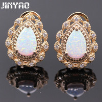 Jinyao phụ nữ đẹp trang sức waterdrop rose gold màu orange trắng hồng cháy opal aaa cubic zirconia wedding party earring