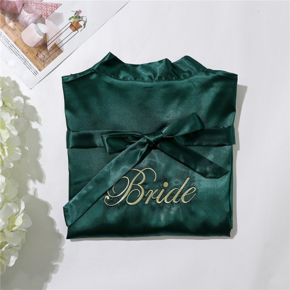 Green Silk Bridesmaid Bride Robe Sexy Women Short Satin Wedding Kimono Robes Sleepwear Nightgown Dress Woman Bathrobe Pajamas