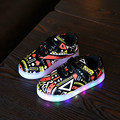 Mamimore Printing Led Luminous Sneaker Shoes For Kids Light Up Casual Shoes For Boys Girls Glowing Sneakers Fashion Hot Sale