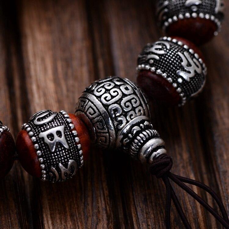 990 prata tibetano mala pulseira budista om