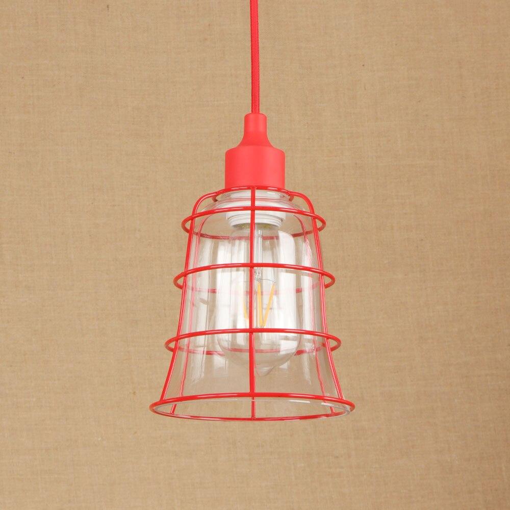 Red American led pendant light Industrial Vintage Iron Glass Creative Retro Loft Pendant Light Restaurant Lamp E27 RPL0032|Pendant Lights| |  -