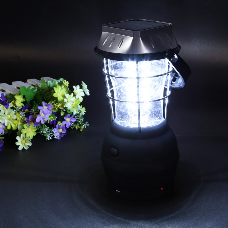 Outdoor Light Sport Camping Super Bright Lights 3 Modes Hand Crank Solar 36 LED Lantern Rechargeable Outdoor Latern Black Lamp