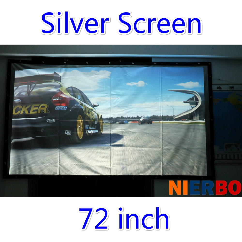 3D silver screen 72 inch protable projector silver screen video projection screen with black border and eyelets can be fold 72 inches and the authenticity of the tripod white plastic screen projector projector screen