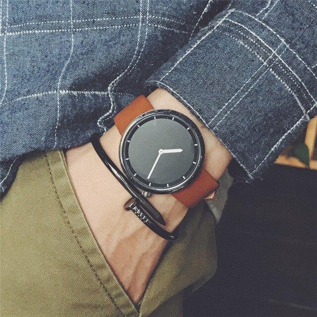 2017 New fashion minimalist men's wristwatches BGG Korean version simple casual quartz leather watch men clock waterproof