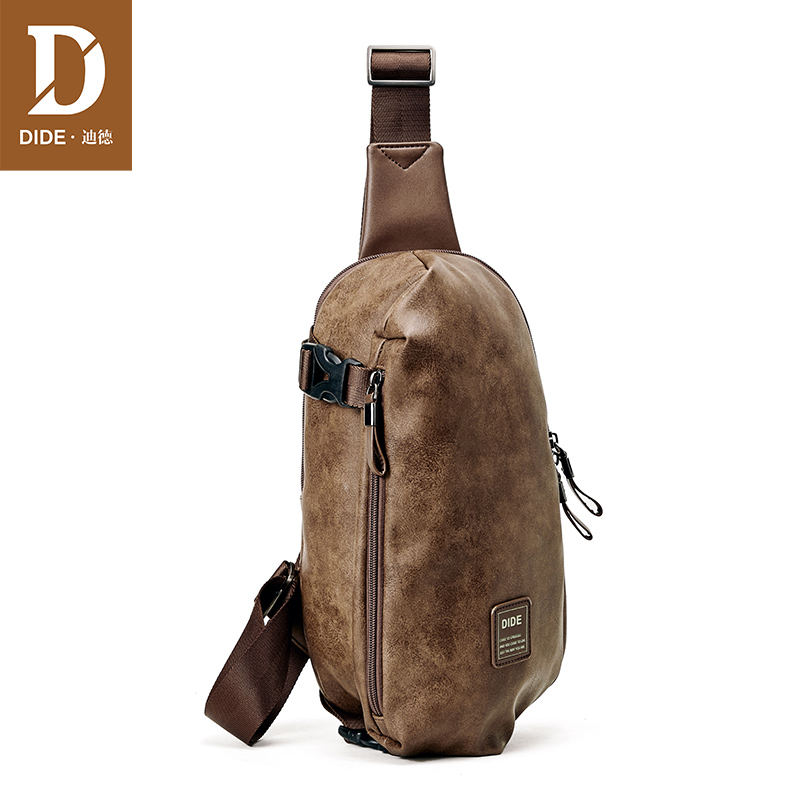 DIDE Fashion Summer Bag Men Chest Pack Single Shoulder Strap Back Bags Leather Travel Men Crossbody Bags Vintage Style DQ797