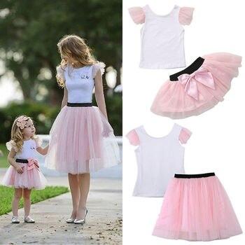 Mother Daughter Matching Shirt Skirt Clothes Women Kid Girl Tulle Tutu Bow Dress