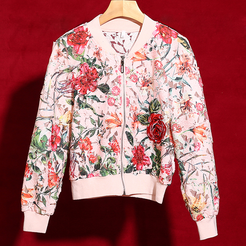 Red RoosaRosee 2019 Fashion Runway Designer Outwear Women Elegant Floral Embroidery Applique Hollow Out Luxury Coat