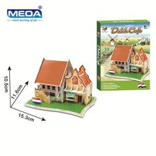 Cardboard 3D Puzzle Toy Dutch Style Coffee Shop Model European Architecture Assembly  Kits Educational Toy For Christmas Gift andrei smirnov tenga 3d toy asanarchitecture model