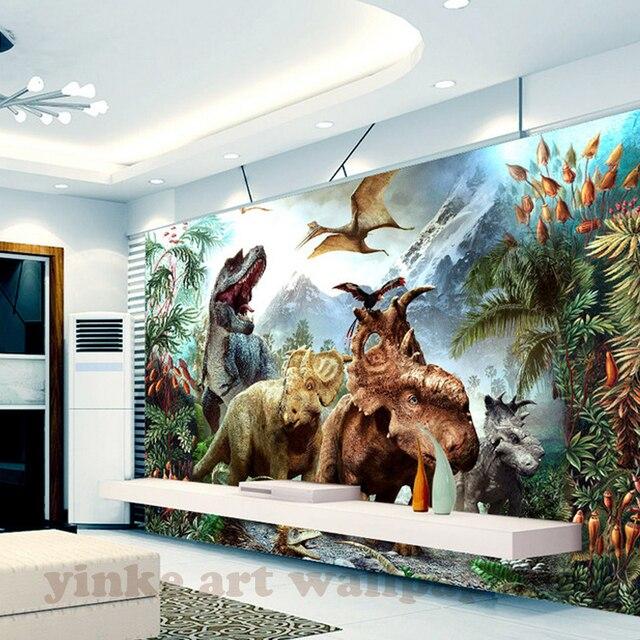 Benutzerdefinierte 3D Wandbild Tapete 3d Stereoskopischen Dinosaurier  Cartoon Wand Kinderzimmer Schlafzimmer Fotografie Hintergrund 3D Kinder  Tapete