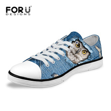 FORUDESIGNS New Spring Casual Vulcanized Shoes Woman Cool Denim Animal Owl Husky Dinosaurs Print Canvas Shoes Flats for Unisex