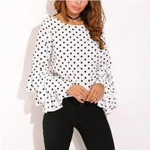 chic Polka Dot Festivals Classics Comfort Elegance Shirt new Womens Bell Sleeve Loose Sexy Ladies Casual Blouse Tops Plus Size