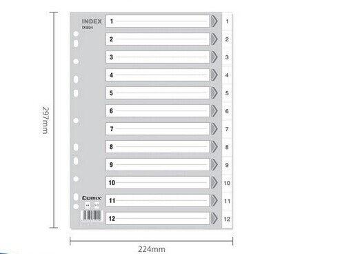 Comix IX894 index card A4 11pocket ,set of 12 sheets, Colour:Gray (Pack of 10sets)