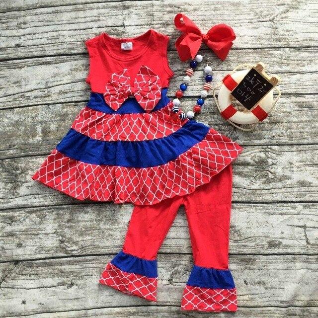 2016 лето капри набор Июля отечественной девочка одежда девочки бутик наряды дети фиолетовый летом наряды с аксессуарами